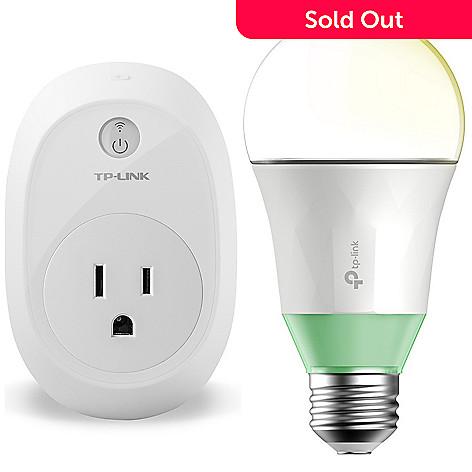 TP-Link Adjustable, Brightness, Smart Wi-Fi, LED Light Bulb w/, Smart Wi-Fi  Plug