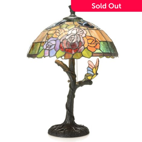 Tiffany Style 22 5 Floral Butterfly Stained Glass Table Lamp Evine