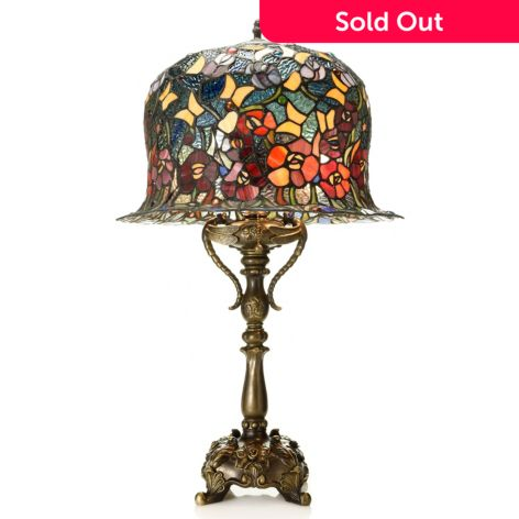 Tiffany Style 28 Over The Top Floral Butterfly Stained Glass Table