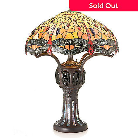 472 968 Tiffany Style 29 25 Dragonfly Double Lit Stained Gl Table Lamp