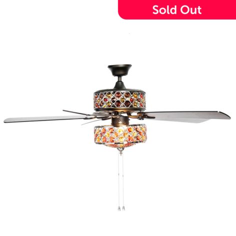 Style At Home With Margie 52 Double Lit Gl Crystal Ceiling Fan W Remote