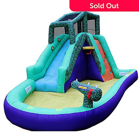 Wonderbounz 14 8' x 9 3' x 8' Safari Splash Slide w/ Lighted Slideway Game