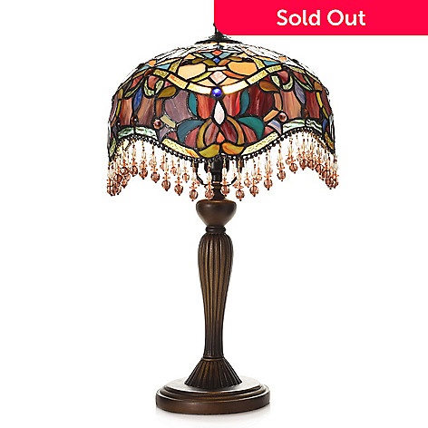 475 386 Tiffany Style 20 5 Armeya Stained Gl Beaded Table Lamp