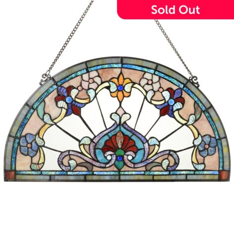 Tiffany Style 24 Floret Half Moon Stained Glass Window Panel W 28