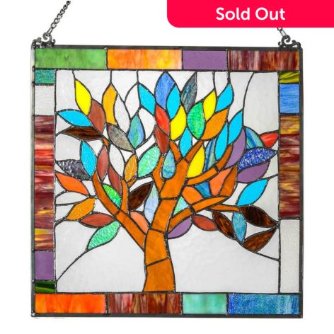 Tree Of Life Stained Gl Window Panel
