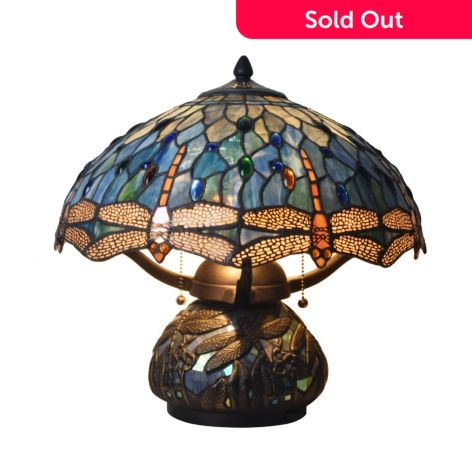 Plow Hearth 16 25 Tiffany Style Dragonfly Stained Glass Table