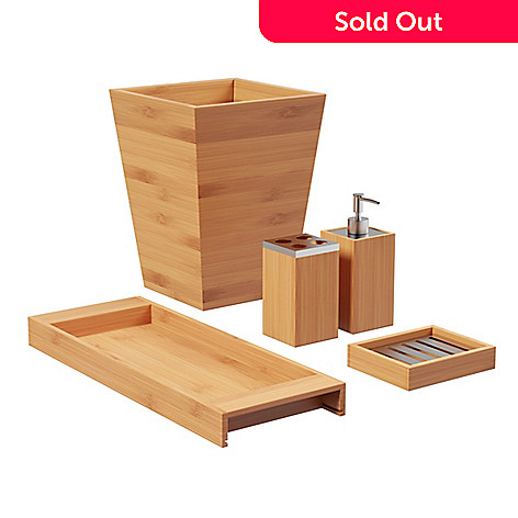 Lavish Home 5 Piece Bamboo Bathroom Organizer Set Evine