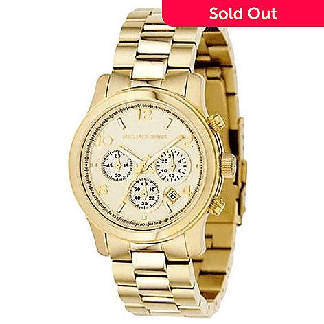 a4b6cb226a7c 609-006- Michael Kors Women s Runway Quartz Chronograph Stainless Steel  Bracelet Watch