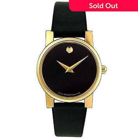 8be14edf8 612-130- Movado Women's Museum Moderna Swiss Quartz Black Dial Leather  Strap Watch