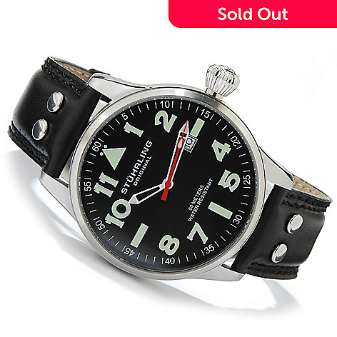 612-167- Stührling Original 44mm Eagle Stainless Steel Leather Strap Watch 42a5e66a945