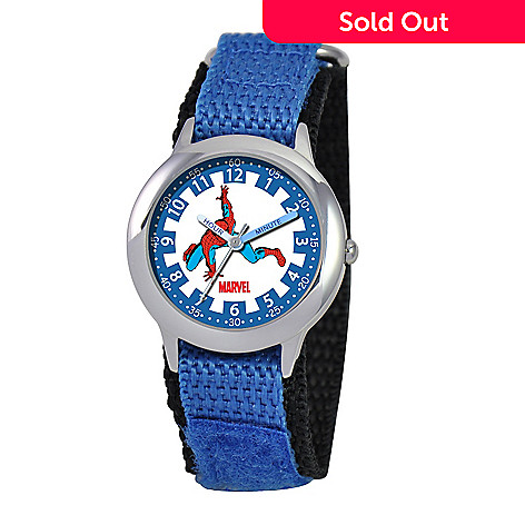 e1a43a43c 612-251- Marvel Kids  Spiderman Japanese Quartz Time Teacher Blue Nylon Strap  Watch