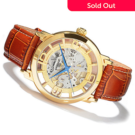 68b8c711a 613-597- Stührling Original Men's Winchester Grand Mechanical Skeleton  Automatic Leather Strap Watch