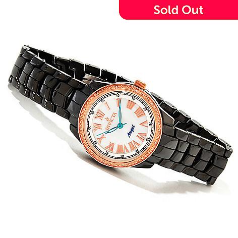 Invicta Ceramics Women's Angel Classique Quartz Diamond Accented Rose-tone  Bezel Bracelet Watch
