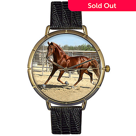 616-846- Whimsical Watches Women's Japanese Quartz American Saddlebred Horse Black Leather Strap Watch