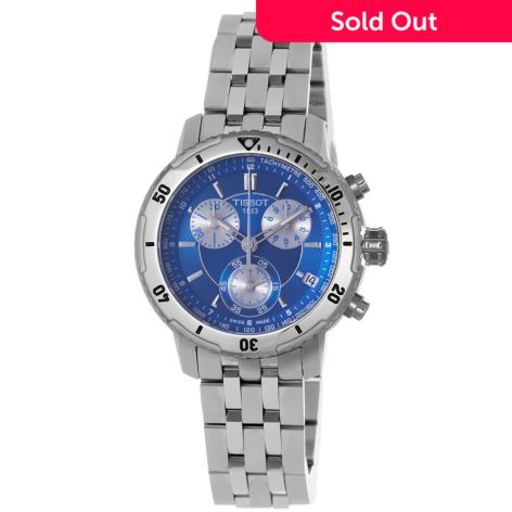 Tissot Men S 45mm Swiss Made Quartz Chronograph Blue Dial Stainless Steel Bracelet Watch