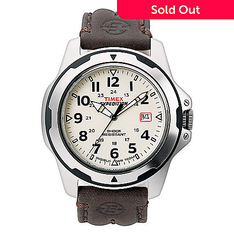 619 410 Timex 40mm Expedition Rugged Field Silver Tone Brown Leather Strap Watch