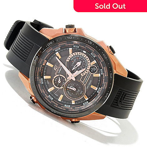 fc5fe3d57 620-049- Casio 46mm Edifice Black Label Solar Power Stainless Steel Rubber  Strap Watch