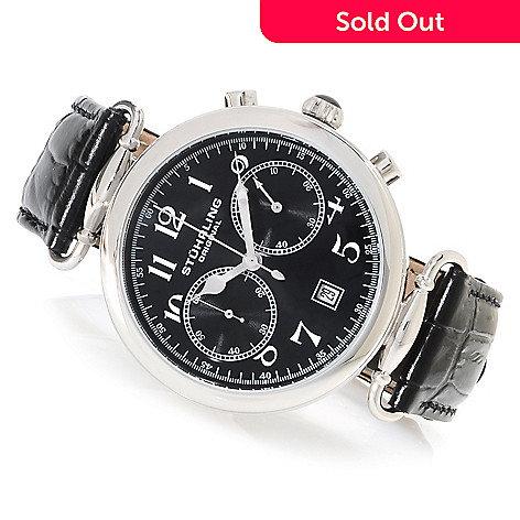 7c174013b 623-337- Stührling Original Men's Velocity Quartz Chronograph Leather Strap  Watch