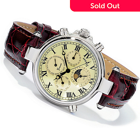 624 415 Stauer Men S 39mm Graves 33 Automatic Stainless Steel Leather Strap Watch