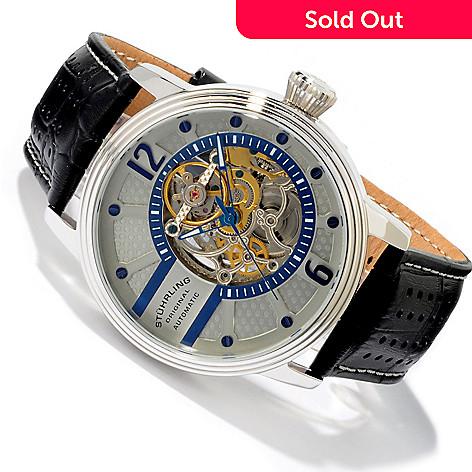 8bdc066a7 625-273- Stührling Original Men's 49mm Prospero Skeleton Automatic Leather  Strap Watch
