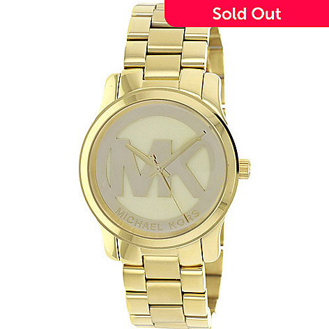 f877ec8cb680 626-335- Michael Kors Women s Runway Quartz MK Logo Gold-tone Bracelet Watch