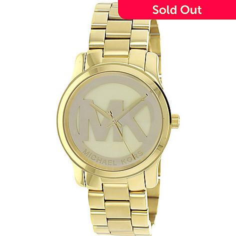 120e9e52d253 626-335- Michael Kors Women s Runway Quartz MK Logo Gold-tone Bracelet Watch