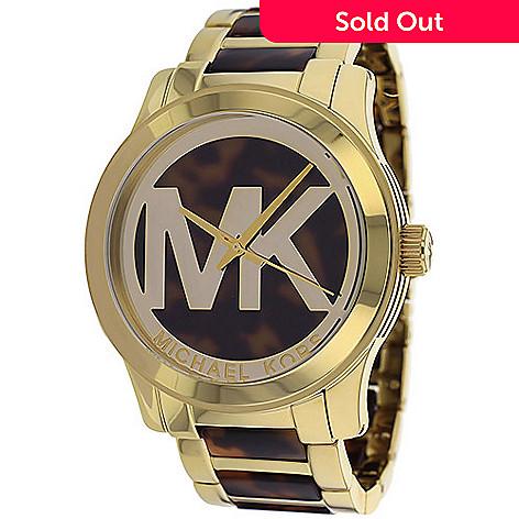 0e7b55763334 626-337- Michael Kors Women s Runway Quartz Oversized MK Logo Gold-tone