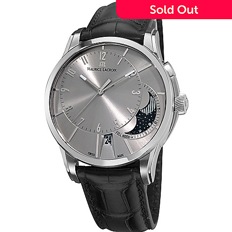 1515f6ef32749 626-476- Maurice Lacroix 43mm Pontos Swiss Made Automatic Moon Phase  Crocodile Strap Watch