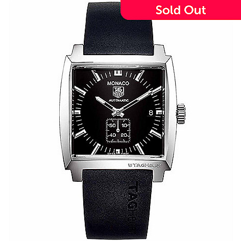 b7fb5d42e51 627-337- Tag Heuer 37mm Monaco Swiss Made Automatic Square Dial Rubber  Strap Watch