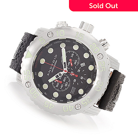34aae9ecb 628-762- Android 55mm DM Gauge Limited Edition Automatic Chronograph  Leather Strap Watch