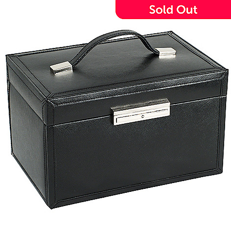 WOLF Queen's Court 20-Compartment Leather Jewelry Box w/ Key