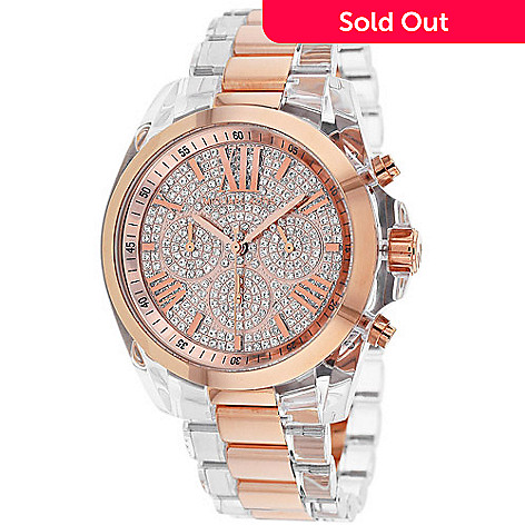 801201dc9607 629-302- Michael Kors Women s Bradshaw Quartz Chronograph Crystal Accent Stainless  Steel Bracelet Watch