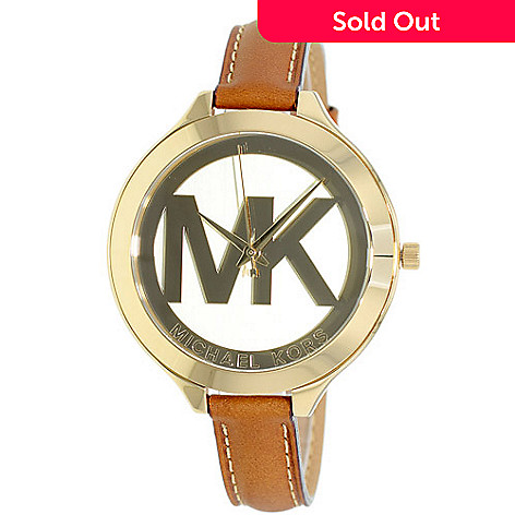 1f8f1b8d032ef 630-125- Michael Kors Women s Slim Runway Quartz Leather Strap Watch