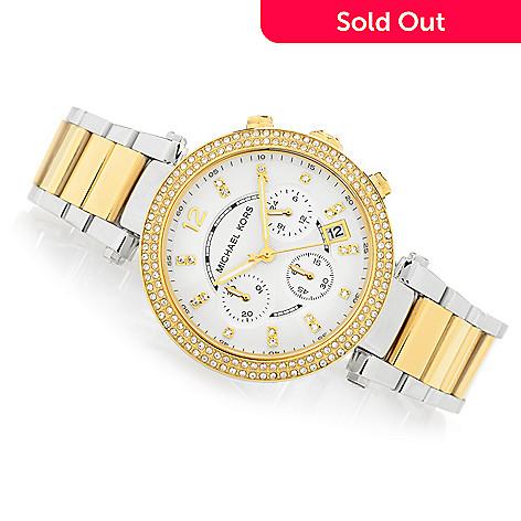 d14b2e8ad5cc 630-215- Michael Kors Women s Parker Glitz Quartz Chronograph Stainless  Steel Bracelet Watch