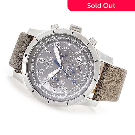6c0654a47 630-364- Invicta 48mm Aviator Quartz Chronograph Leather Strap Watch w/  Three-