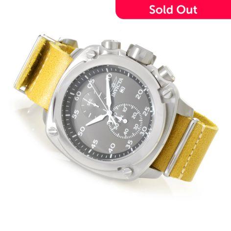 Invicta 54mm Aviator NATO Quartz Chronograph Leather Strap Watch