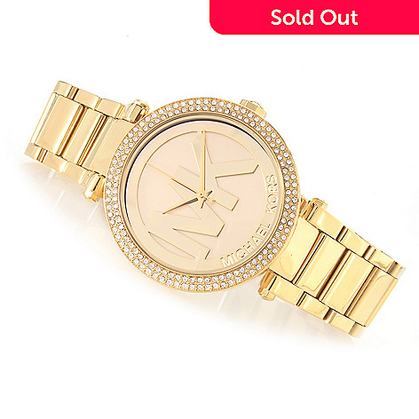 630 589 Michael Kors Women S Parker Quartz Crystal Accented Bracelet Watch