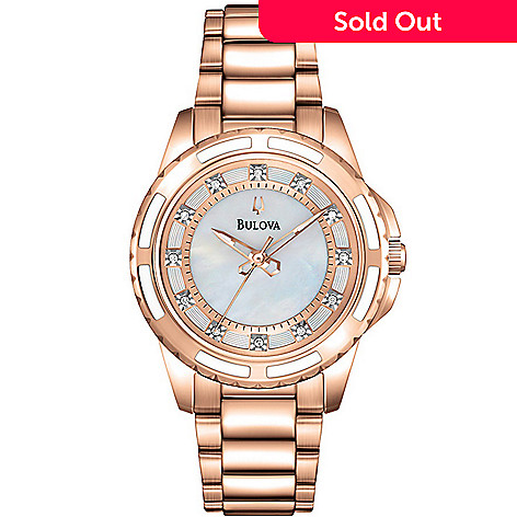 26b957aab 630-833- Bulova Women's Quartz Diamond Accented Mother-of-Pearl Dial Rose