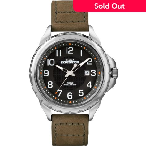 Timex 43mm Expedition Rugged Field Quartz Date Leather Strap Watch
