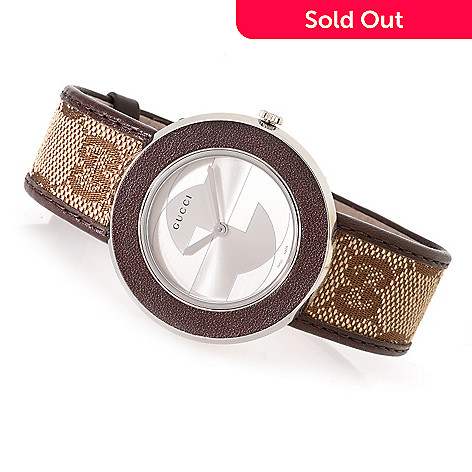 5a247c4dc30 631-064- Gucci Women s U-Play Swiss Made Quartz Stainless Steel Canvas Strap