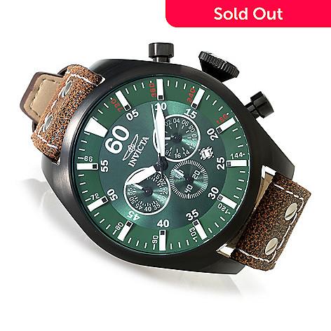 41edf68fe 631-320- Invicta 50mm Aviator Quartz Chronograph Stainless Steel Leather Strap  Watch