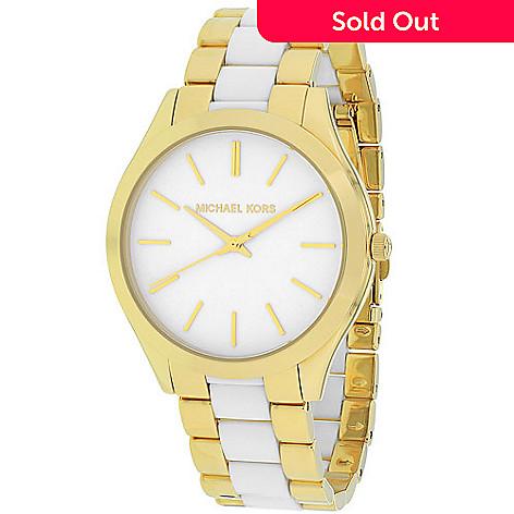 b201081e2943 631-595- Michael Kors Women s Slim Runway Quartz Two-tone Bracelet Watch