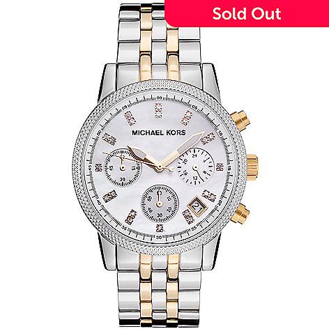 67342d38f 631-667- Michael Kors Women's Ritz Quartz Chronograph Crystal Accented  Stainless Steel Bracelet Watch