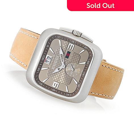 b2af241ed21 631-876- Gucci 40mm Coupe Swiss Made Quartz Leather Strap Watch