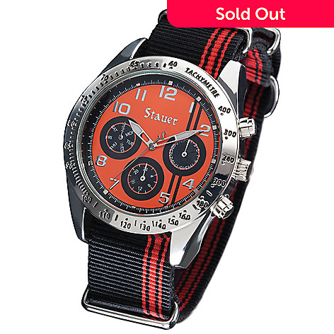 632 406 Stauer Men S 45mm Sdway Quartz Multi Function Nylon Strap Watch