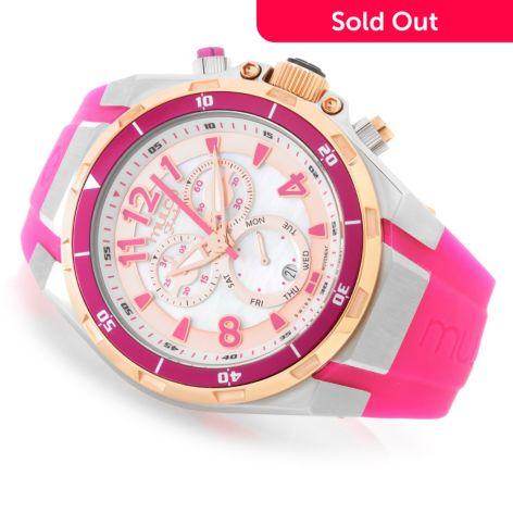 MULCO Women's Fondo Full Swiss Quartz Chronograph Mother-of-Pearl Silicone  Strap Watch