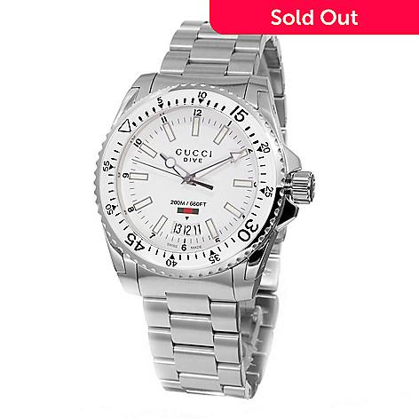 bef375cafd6 633-479- Gucci 40mm Dive Swiss Quartz Stainless Steel Bracelet Watch