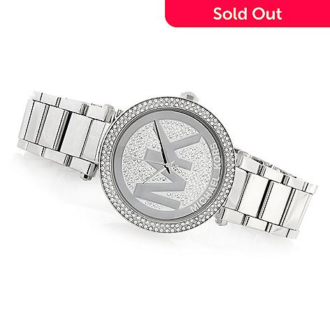 feca9f77302c 633-578- Michael Kors Women's Parker Quartz Crystal Accented Stainless  Steel Bracelet Watch