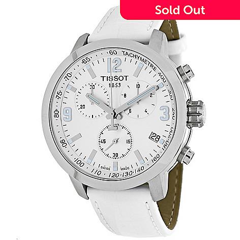 634-323- Tissot Women s PRC 200 Swiss Quartz Chronograph Date Leather Strap  Watch 54d8086a6b