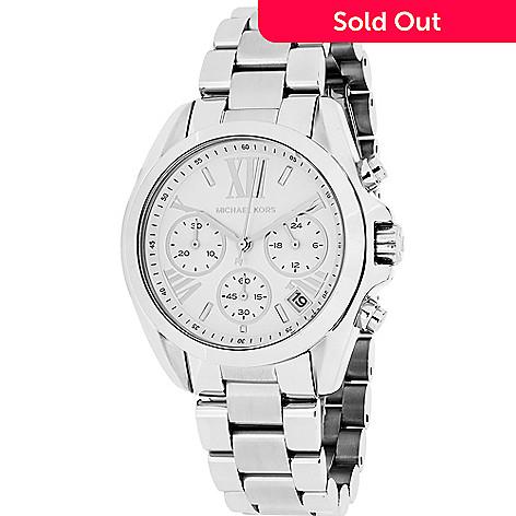 9e11921be10e 635-018- Michael Kors Women s Mini Bradshaw Quartz Chronograph Stainless  Steel Bracelet Watch